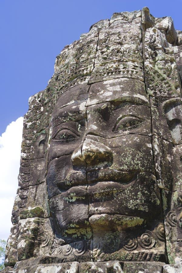 tempel för bayonbuddha cambodia framsida s arkivbilder