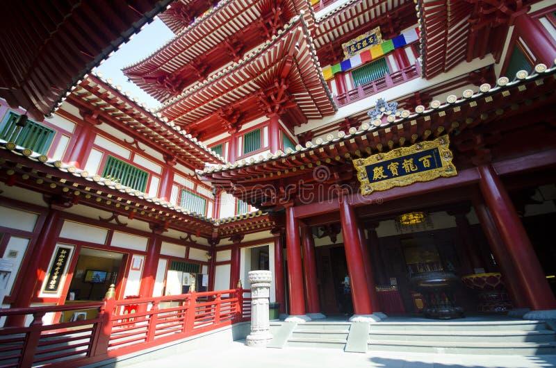 Tempel för Buddhatandrelik i den Kina staden, Singapore arkivbilder