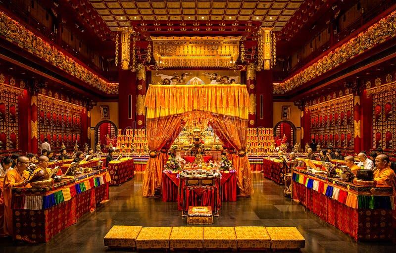 Tempel för Buddhatandrelik och museum, Singapore arkivbild