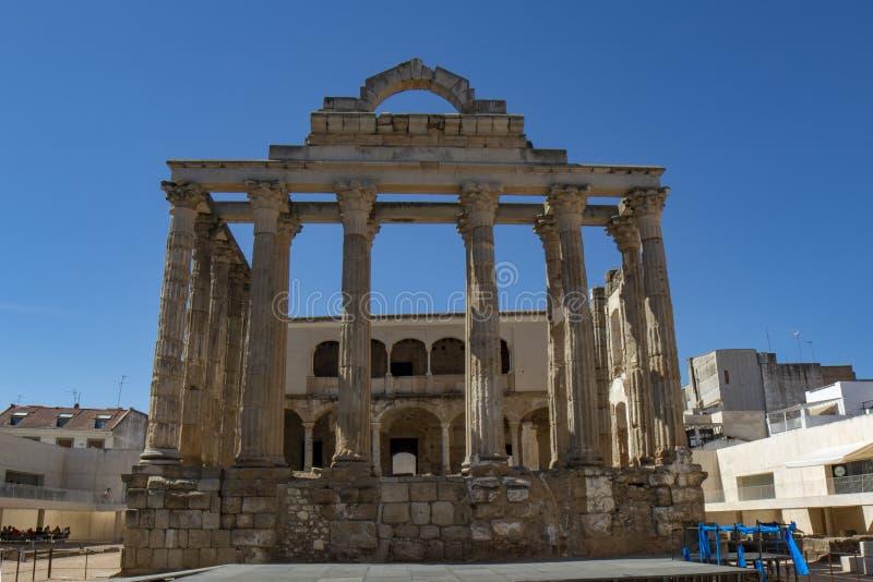 Tempel för Diana ` s, roman arv i Merida, Spanien arkivfoto