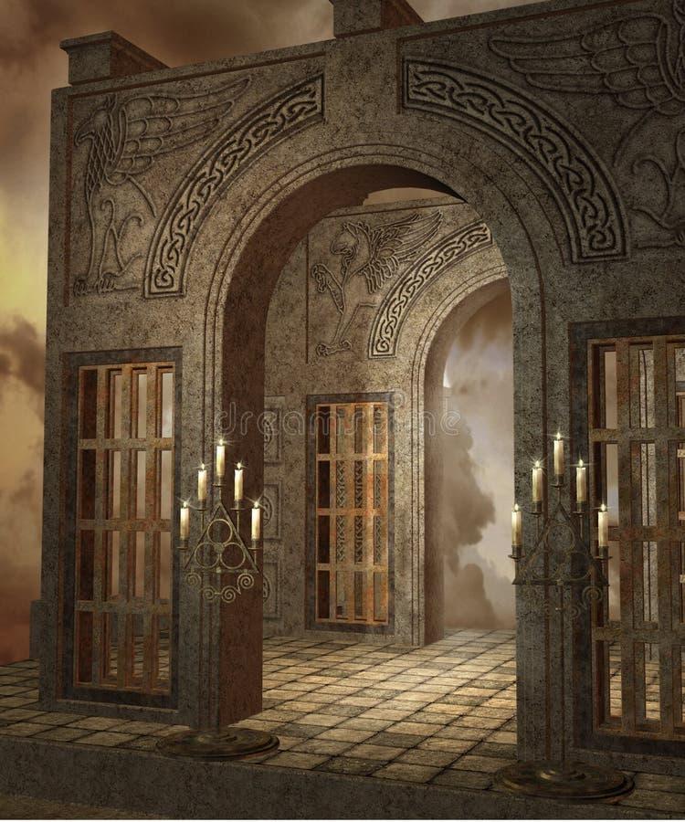 tempel för fantasi 4 vektor illustrationer