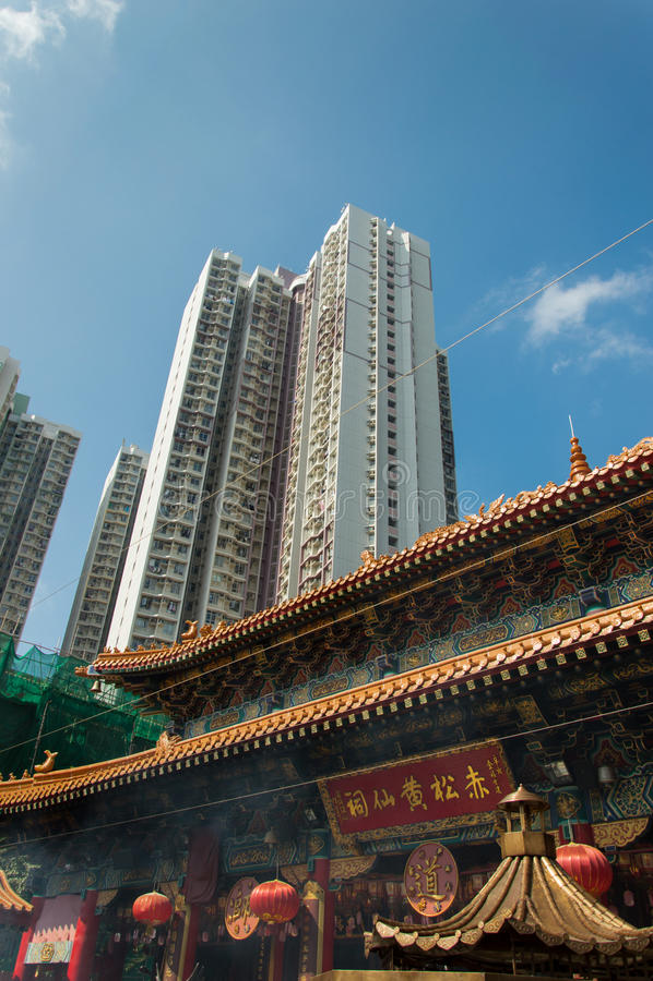 Tempel för Sik sikyuen wong tai synd i Hong Kong royaltyfri foto