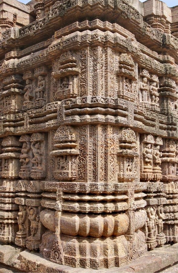 tempel för sun för carvingshörn utsökt royaltyfri fotografi