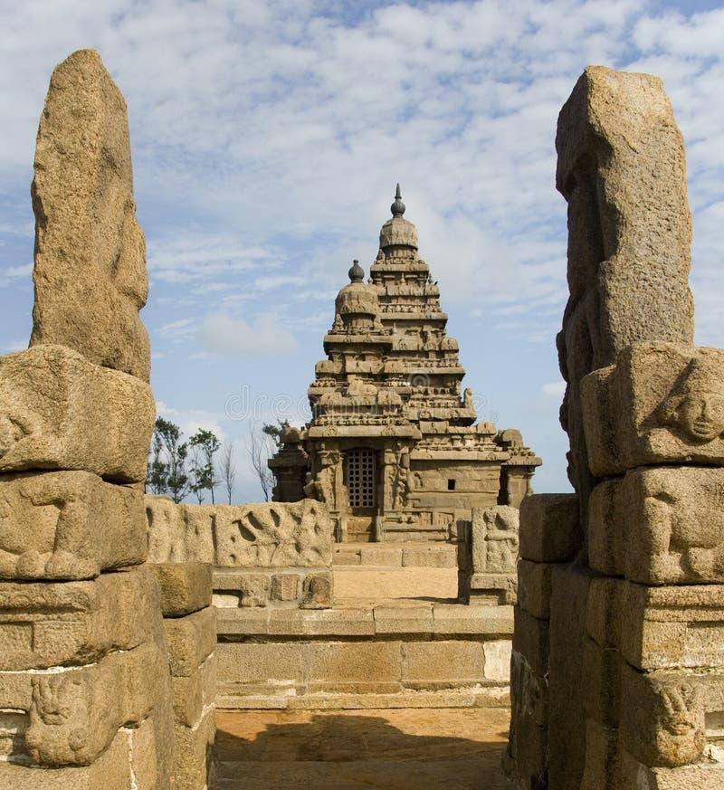 tempel för tamil för kust för india mamallapuramnadu arkivbilder