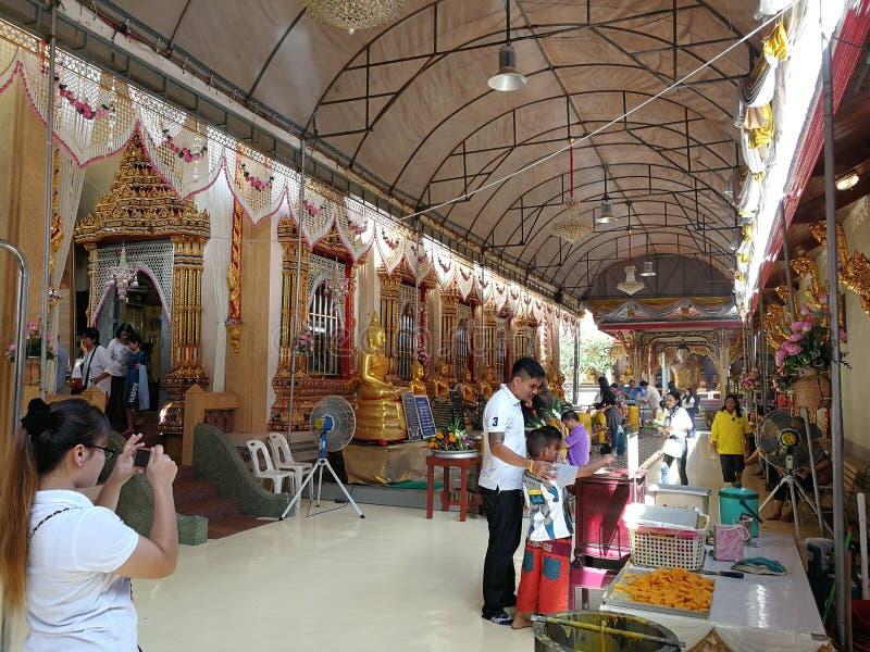 tempel från Samutprakan Thailand royaltyfria foton