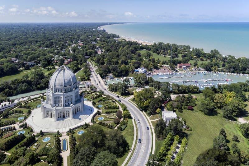Tempel, hamn och Shoreline för Baha ` I arkivfoton