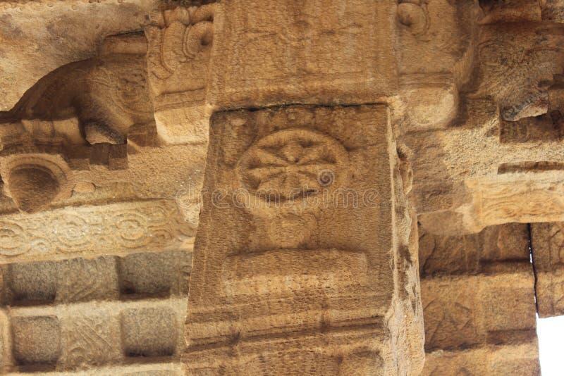 Tempel Hampi Vittala schnitzende chakra gewundene Steinwaffe lizenzfreies stockfoto