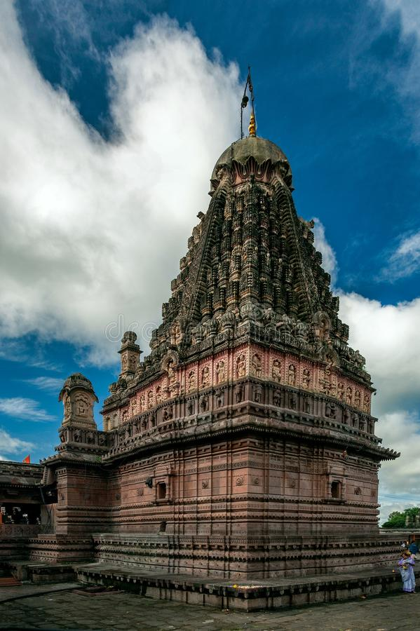 Tempel-Hemadpanthi Verul Ellora Aurangabad Jyotirling Ghrneshwar Jyotirlinga Shiva lizenzfreie stockbilder
