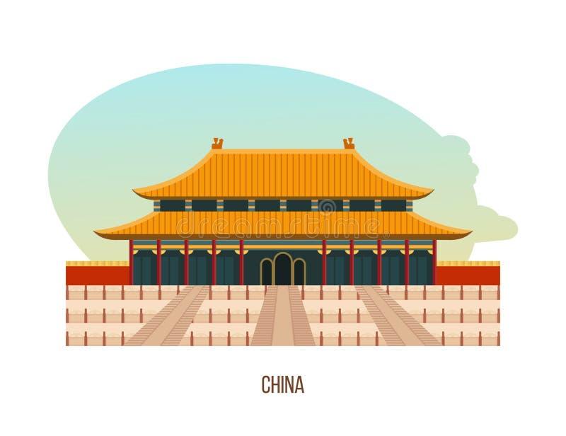 Tempel-kloster komplexet i beijing är byggande av templet av himmel royaltyfri illustrationer