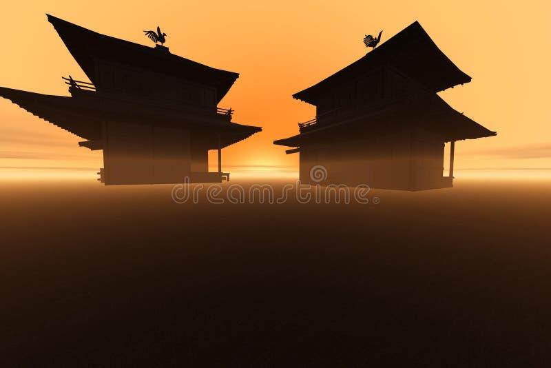 tempel kopplar samman stock illustrationer