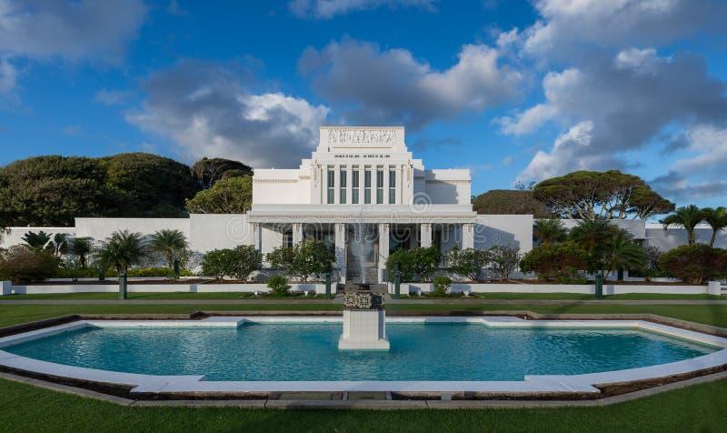 Tempel Laie Hawaii lizenzfreie stockfotos