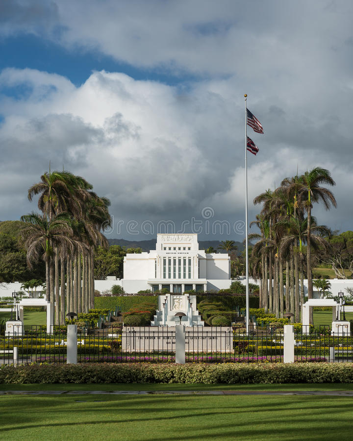 Tempel Laie Hawaii stockbild