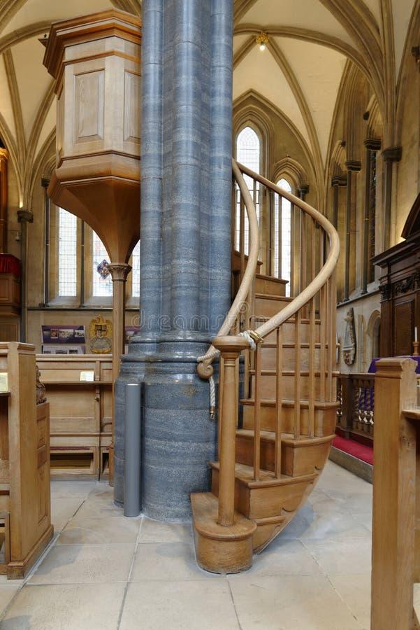Tempel, Londen, Engeland: wenteltrap, Tempelkerk, Londen stock fotografie