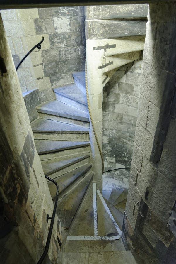 Tempel, London, England: gewundenes Steintreppenhaus, Tempel-Kirche, London stockbild