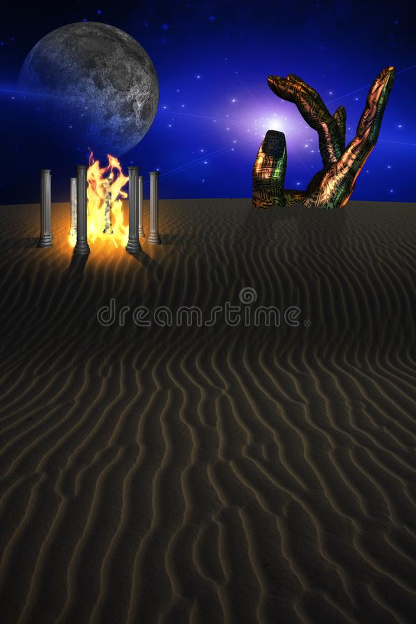 Tempel med brand i overklig öken royaltyfri illustrationer