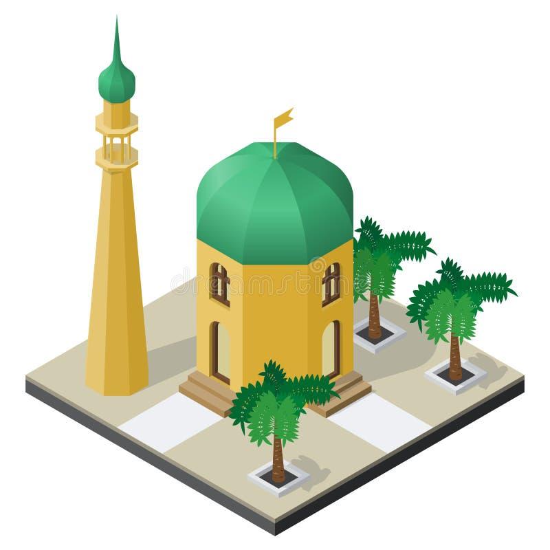 Tempel, minaret en palmen in isometrische mening stock illustratie
