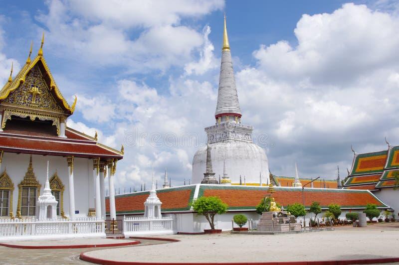 Tempel Nakorn Si Thammarat, Thailand Phra Mahathat stockfotos