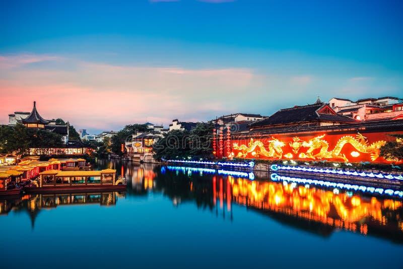 Tempel Nanjings Konfuzius im Einbruch der Nacht stockfotografie