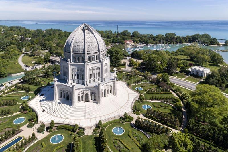 Tempel och Lake Michigan för Baha ` I royaltyfria bilder