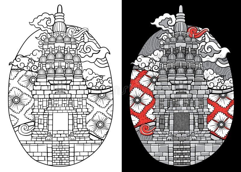 Tempel och traditionell batik bali indonesia för illustration för beställnings- stilsort prambanan royaltyfri illustrationer