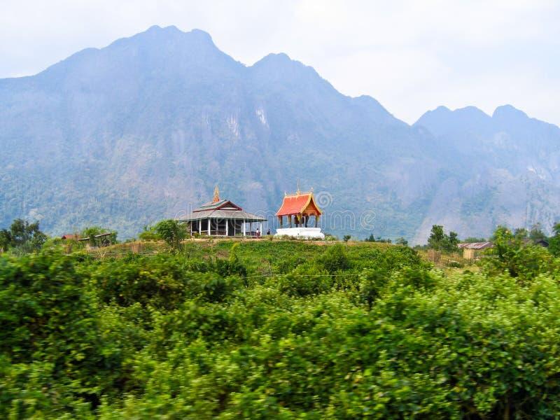 Tempel op berg. stock fotografie