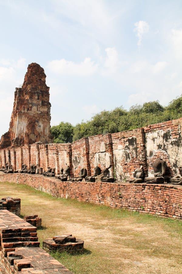 Tempel in oude stad van Ayutthaya stock fotografie