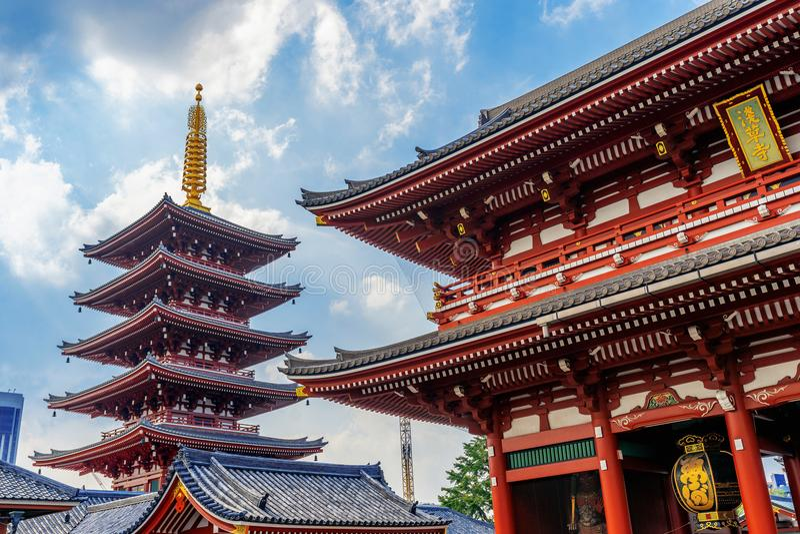 Tempel Senso -senso-ji in Asakusa, Tokyo, Japan royalty-vrije stock afbeeldingen