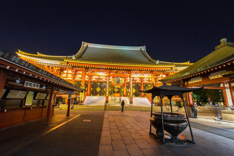 Tempel Senso-ji in Asakusa, Tokyo, Japan stockfoto