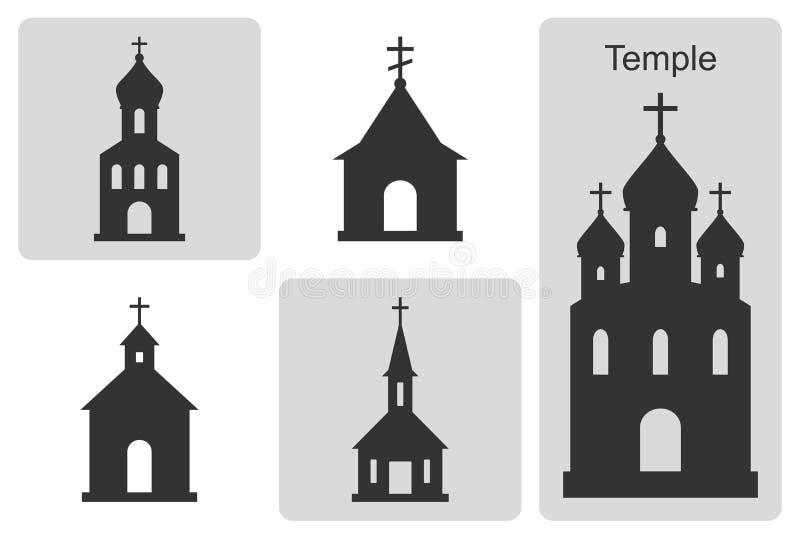 Tempel symboler ställde in vektorn Översikt av den kristna domkyrkan stock illustrationer