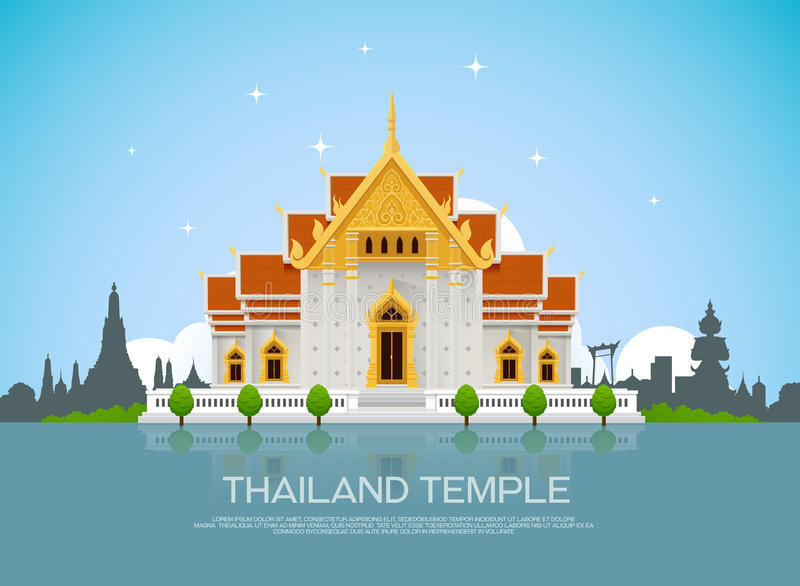 tempel thailand royaltyfri illustrationer