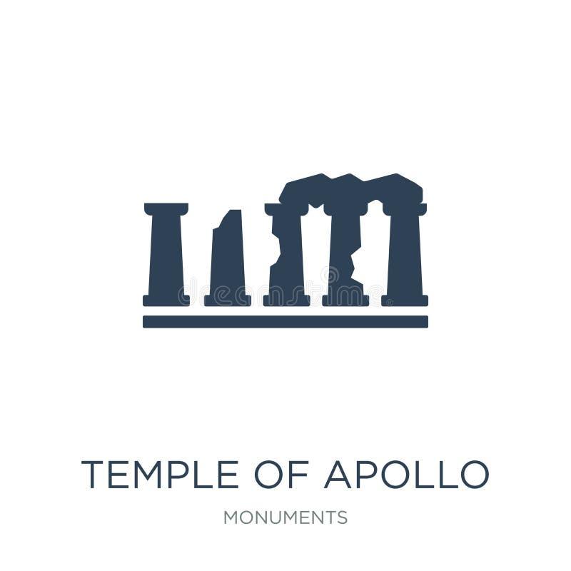 tempel van Apollo-pictogram in in ontwerpstijl tempel van Apollo-pictogram op witte achtergrond wordt geïsoleerd die tempel van h royalty-vrije illustratie