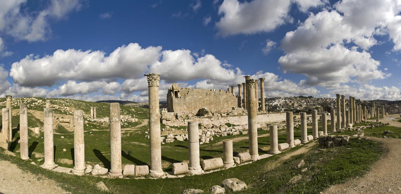 Tempel van Artemis in Jerash royalty-vrije stock foto