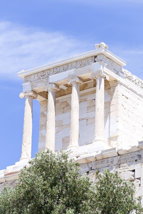Tempel van Athena Nike op de Akropolis stock afbeelding