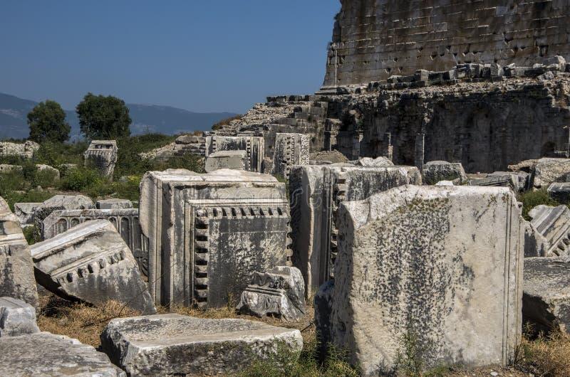 Tempel van Athena van Oude Griekse Stad van Priene, T stock foto