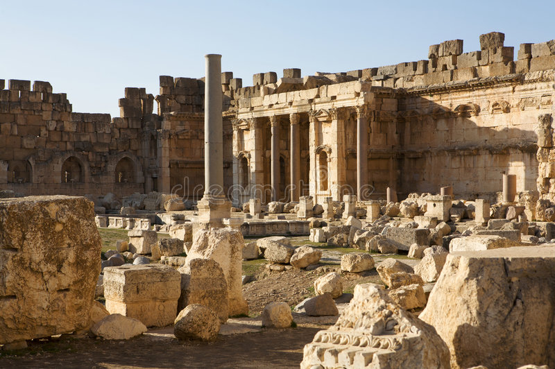 Tempel van Bacchus stock afbeeldingen