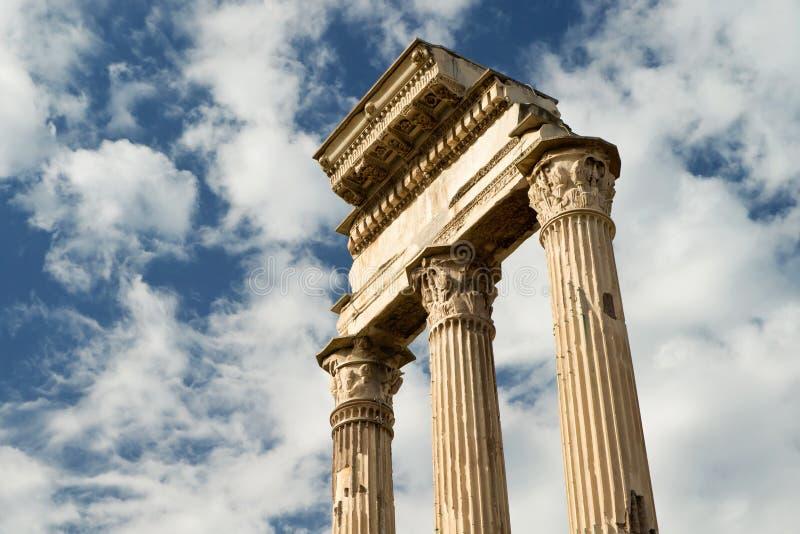 Tempel van Bever & Pollux bij Roman Forum, Rome royalty-vrije stock foto's