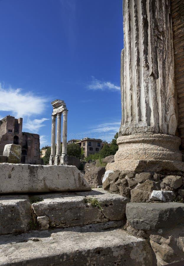 Tempel van Bever en Pollux, Roman Forum, Rome, Italië royalty-vrije stock foto's