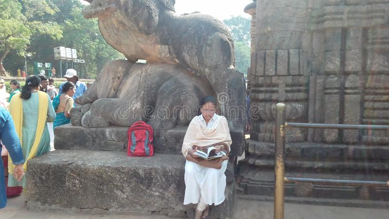 Tempel van de Anicient de beroemde zon bij konarakodissa India stock foto