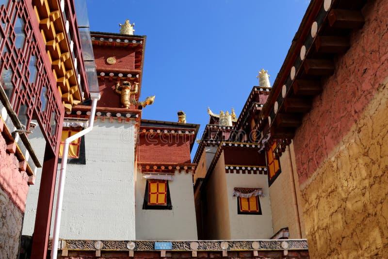Tempel van de stijl van Tibet in Shangrila, Yunnan, China royalty-vrije stock foto's