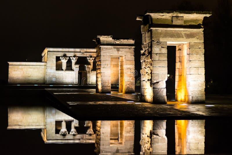 Tempel van debod bij nacht royalty-vrije stock foto's