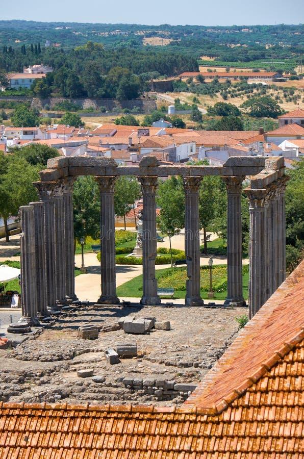Tempel van Diana, Roman tempel van Evora gewijd aan de cultus van Keizer Augustus Evora portugal stock fotografie