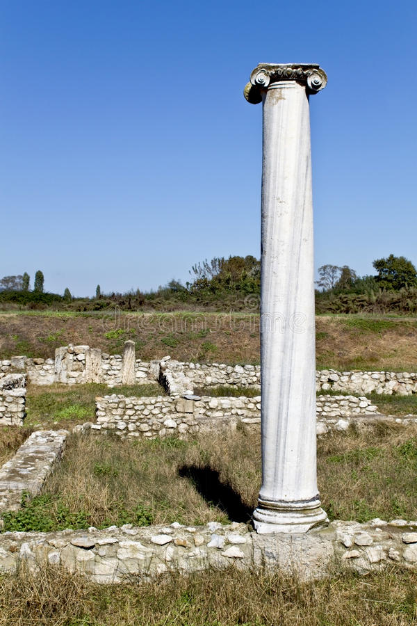 Tempel van Dionysus in Dion, Griekenland stock foto's