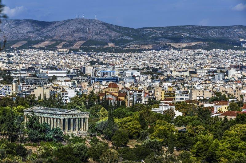 Tempel van Hephaestus of Hefestion en Athene op de achtergrond royalty-vrije stock afbeelding
