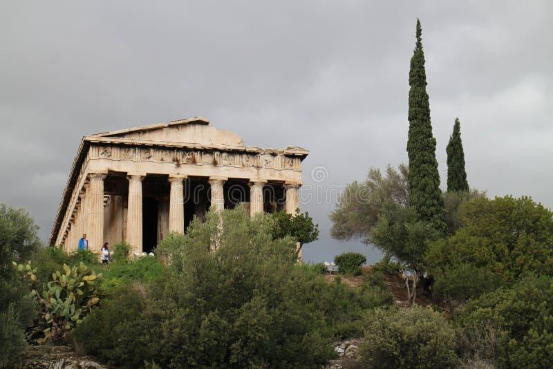 Tempel van Hephaestus in Oud Agora van Athene royalty-vrije stock foto's
