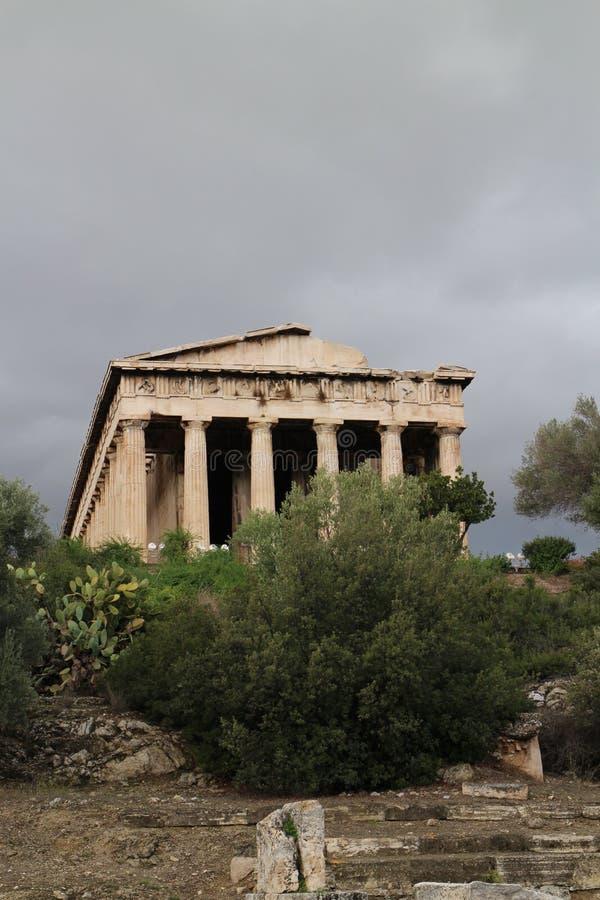 Tempel van Hephaestus in Oud Agora van Athene stock fotografie