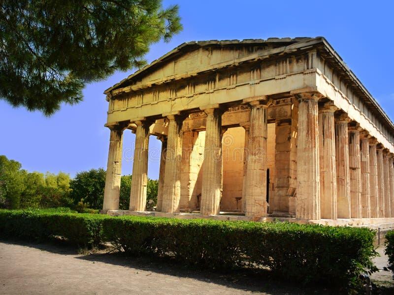 Tempel van Hephaestus - oude Griekse plaats van verering in Agora o stock foto