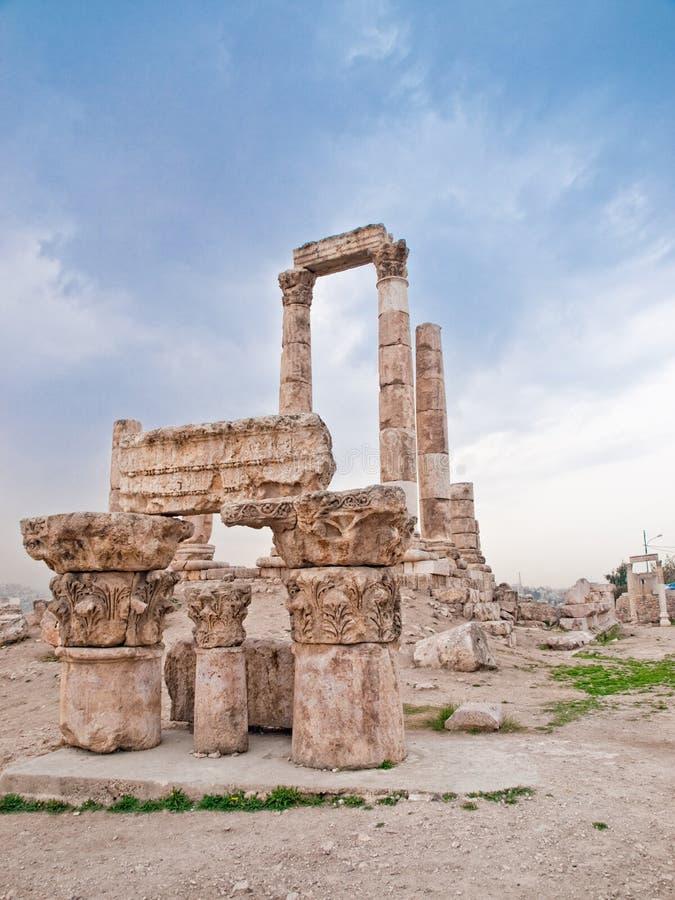 Tempel van Hercules in Amman royalty-vrije stock fotografie