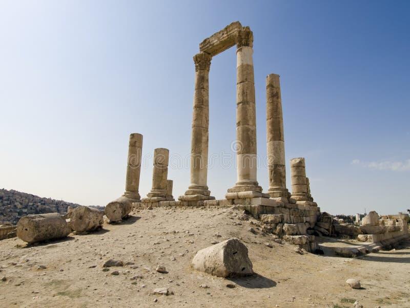 Tempel van Hercules in Amman Ci royalty-vrije stock afbeelding