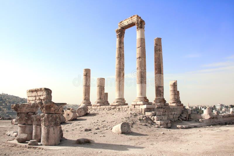 Tempel van Hercules in Amman Citadel, Amman, Jordanië stock fotografie