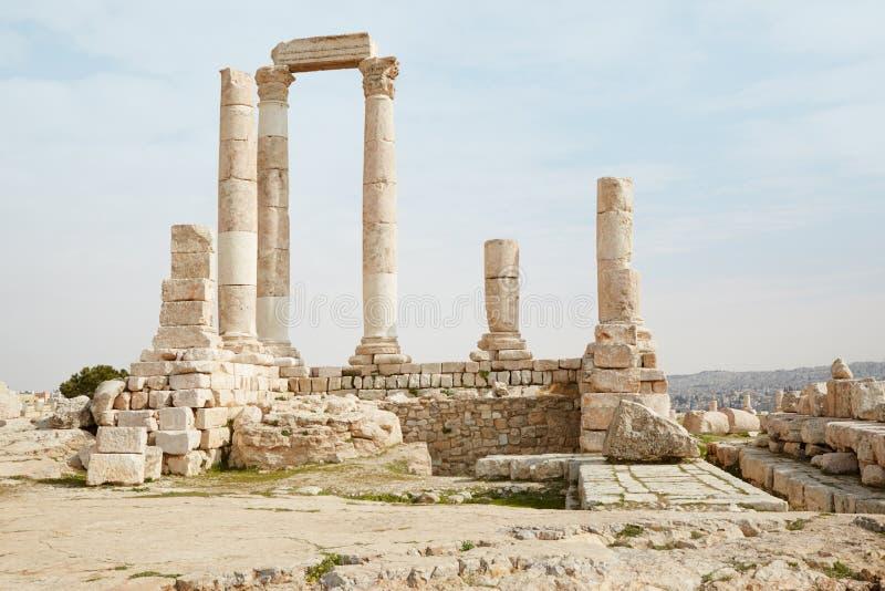 Tempel van Hercules in Amman, Jordanië royalty-vrije stock afbeelding